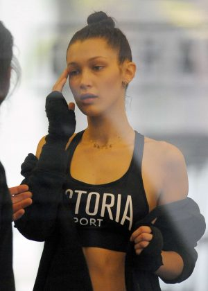 Bella Hadid at boxing class in New York