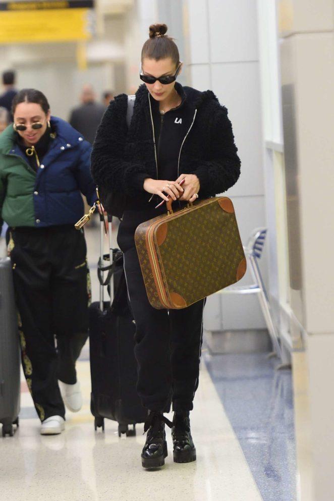 Bella Hadid at JFK airport in New York City