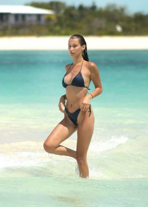 Bella Hadid - Bikini Photoshoot on the beach in Turks and Caicos