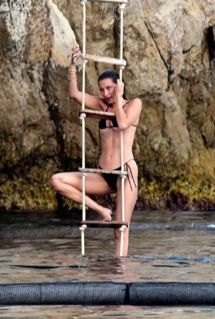 Bella Hadid - In a black bikini with her new boyfriend in Antibes