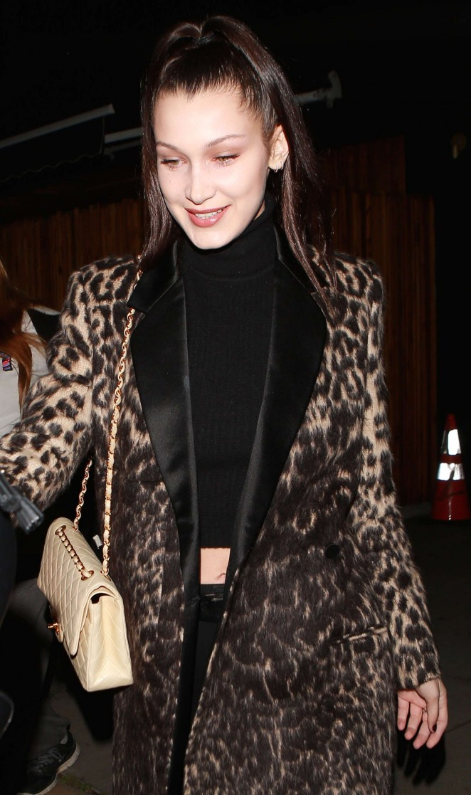 Bella Hadid in a leapord print coat at The Nice Guy in West Hollywood