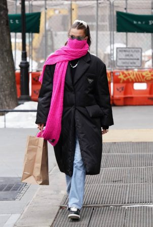 Bella Hadid - In a Prada coat and a pink scarf seen while out for lunch in New York