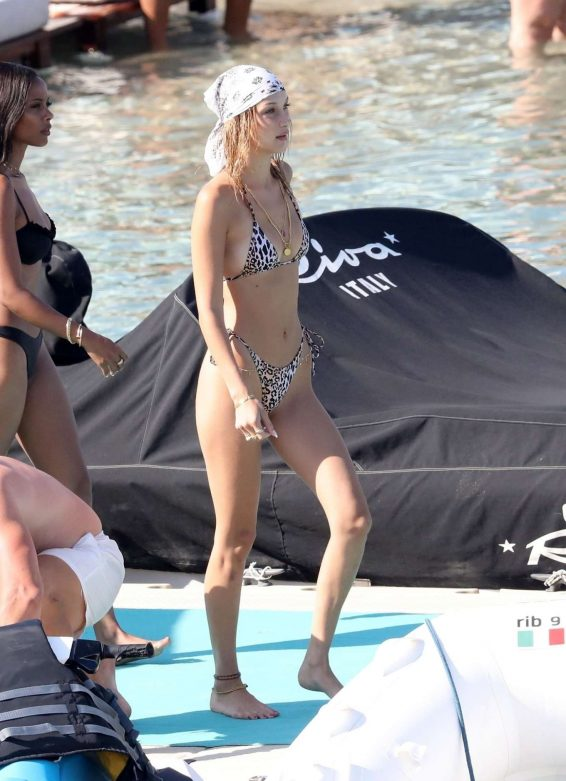 Bella Hadid 2019 : Bella Hadid in Animal Print Bikini 2019-01