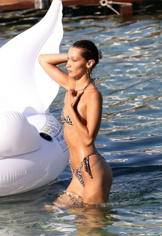 Bella Hadid in Animal Print Bikini on the beach in Mykonos