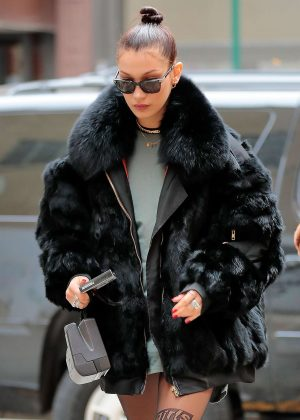 Bella Hadid in Black Fur Caot Out in NYC