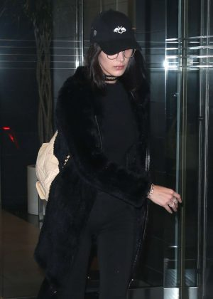 Bella Hadid in Black Fur Coat Out in New York City