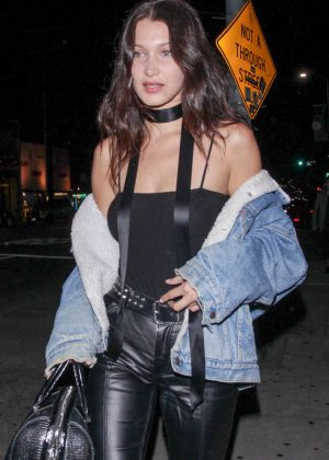Bella Hadid in Black Leather at the Nice Guy in West Hollywood