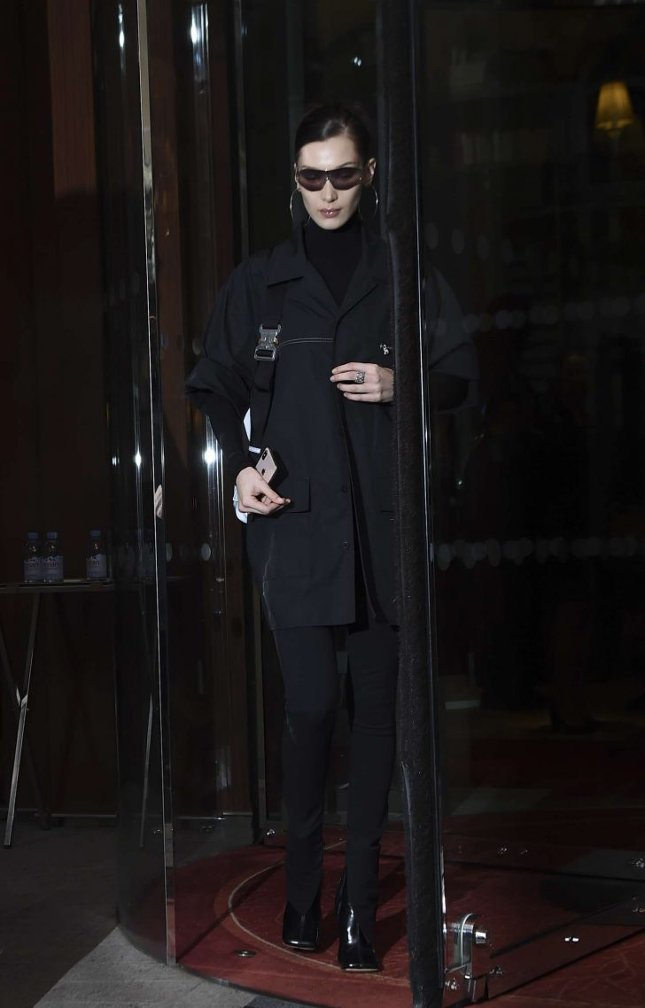 Bella Hadid in Black: Leaves her hotel in Paris -01