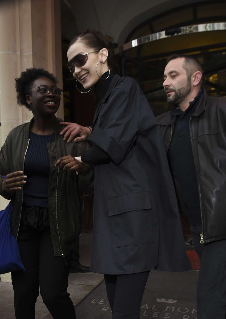 Bella Hadid in Black: Leaves her hotel in Paris -06