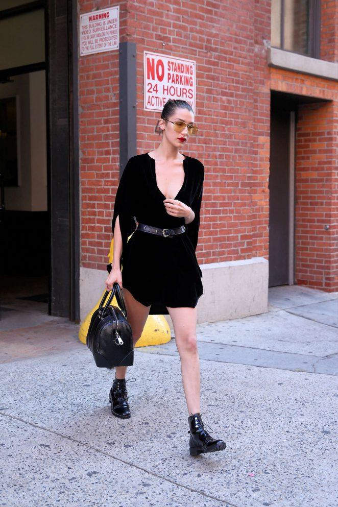 Bella Hadid in Black Mini Dress -02