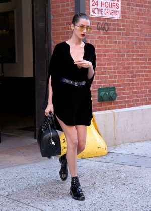 Bella Hadid in Black Mini Dress out in New York