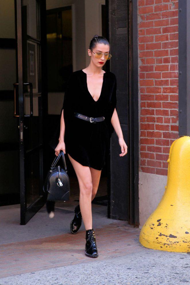 Bella Hadid in Black Mini Dress -05