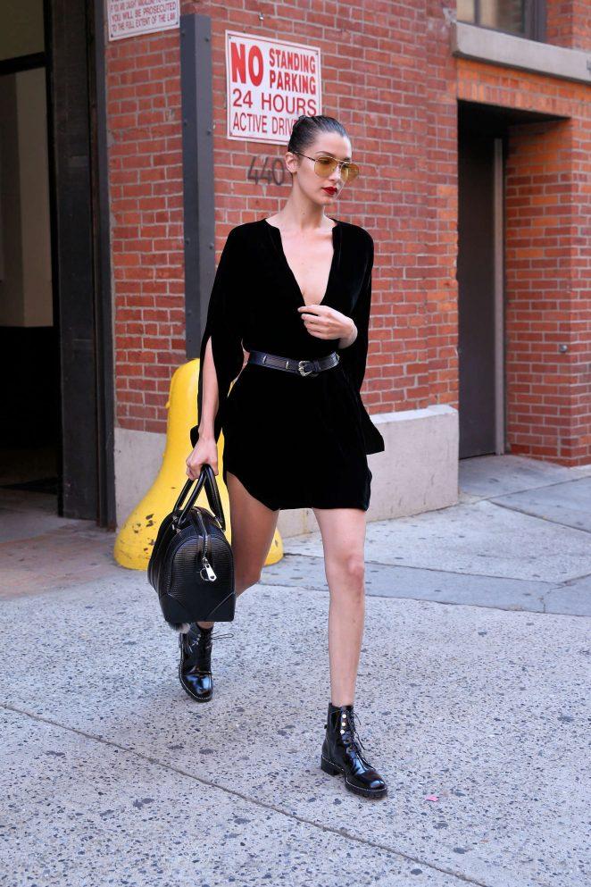 Bella Hadid in Black Mini Dress -06