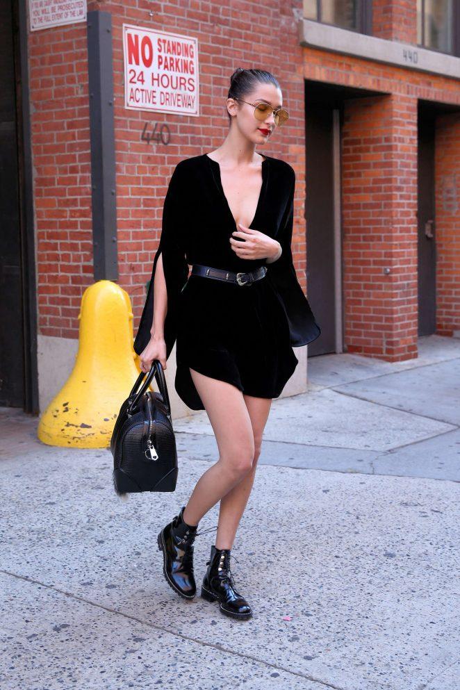 Bella Hadid in Black Mini Dress -11