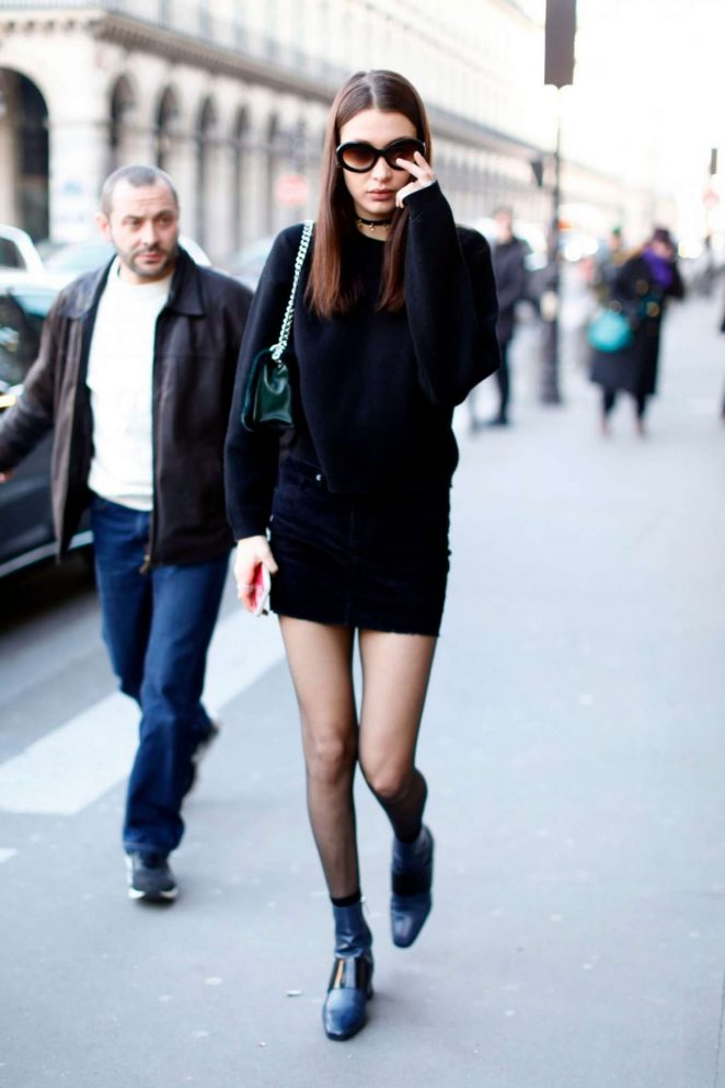 Bella Hadid in Black Mini Dress Out in Paris