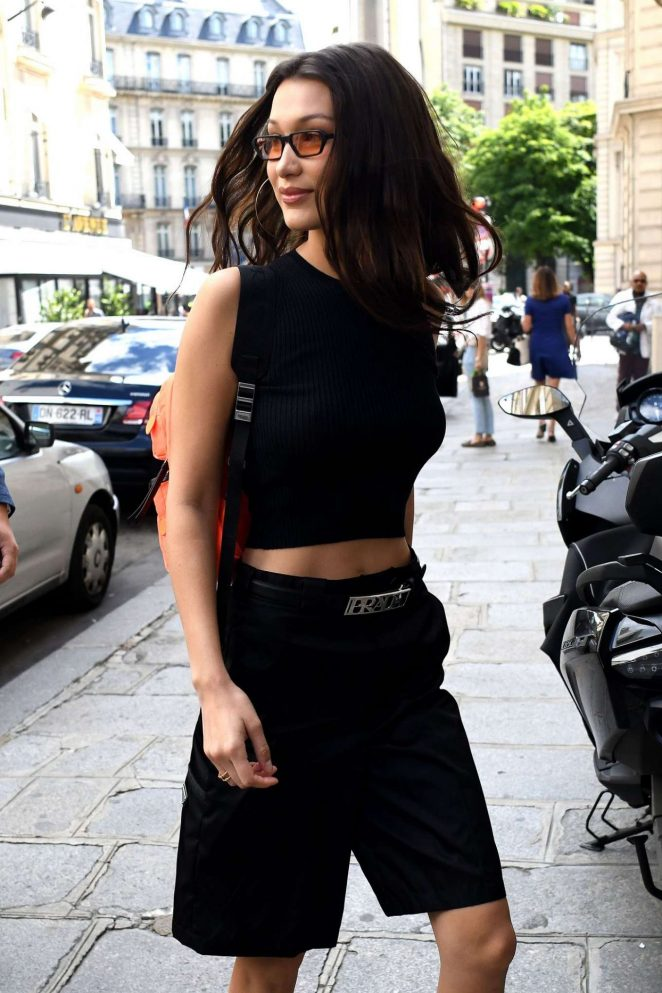 Bella Hadid in Black - Out in Paris