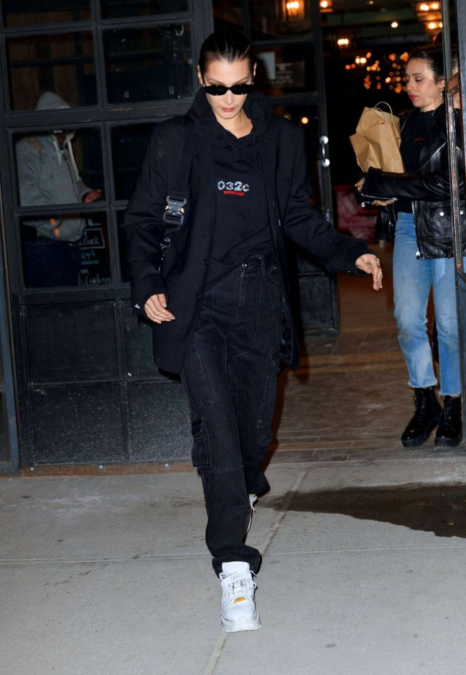 Bella Hadid in Black Outfit – Out in New York