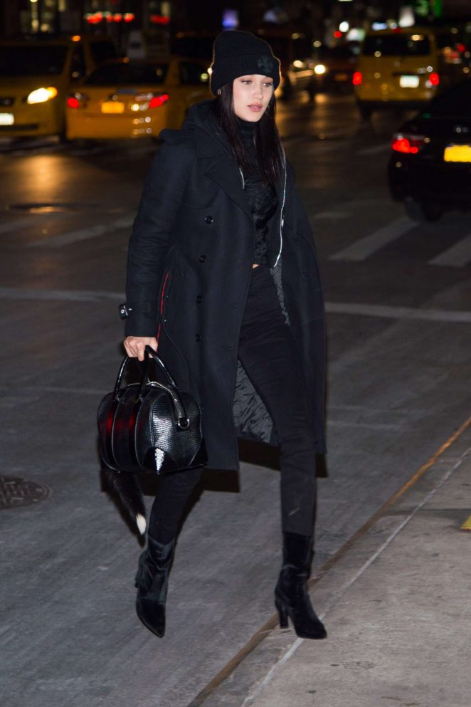 Bella Hadid in Black outfit out in New York