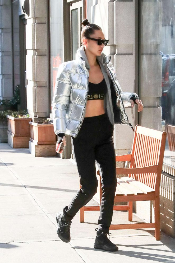 Bella Hadid in crop top out in New York City