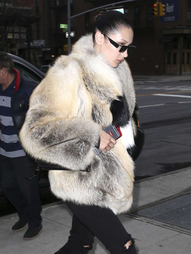 Bella Hadid in Fur Coat out in New York City