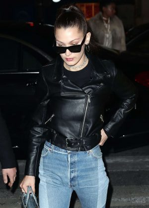 Bella Hadid in Jeans and Leather Jacket Out in Paris