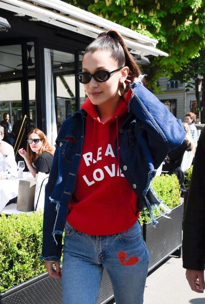 Bella Hadid in Jeans at L'avenue in Paris