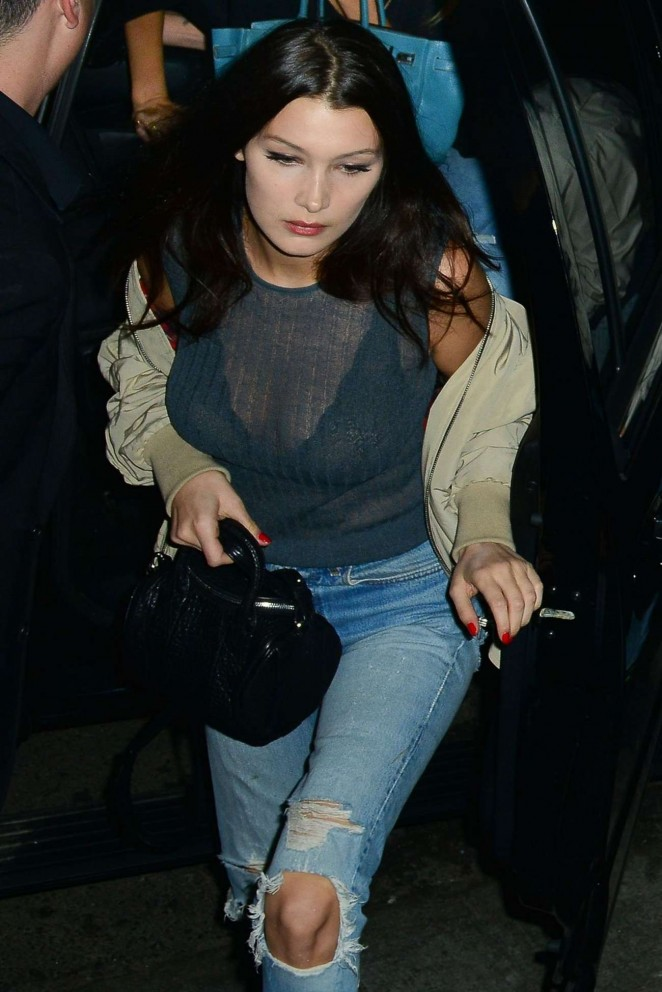 Bella Hadid in Jeans at The Nice Guy in West Hollywood