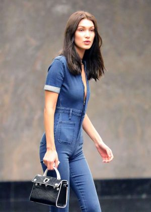 Bella Hadid in Jeans Jumpsuit out in New York City