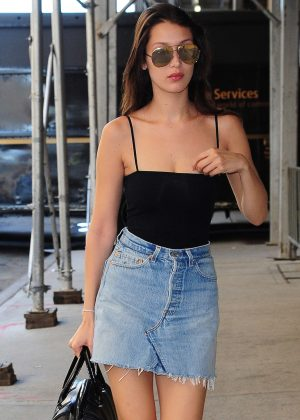Bella Hadid in Jeans Mini Skirt Out in New York City