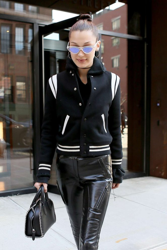 Bella Hadid in Leather out in New York City