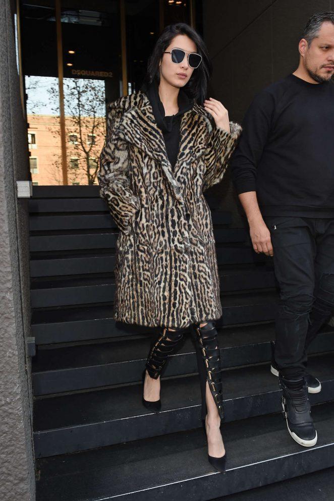 Bella Hadid in Leopard Print Coat Leaving her hotel in Milan