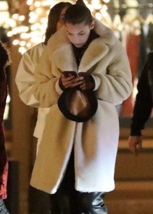 Bella Hadid in Long Fur Coat out in Aspen