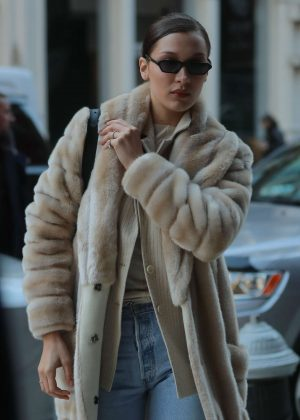 Bella Hadid in Long Fur Coat out in New York City