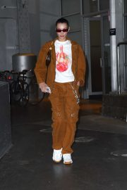 Bella Hadid in Matching Brown Outfit - Leaves a studio in New York
