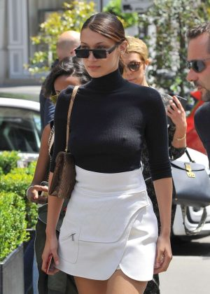 Bella Hadid in Mini Skirt out for lunch in Paris