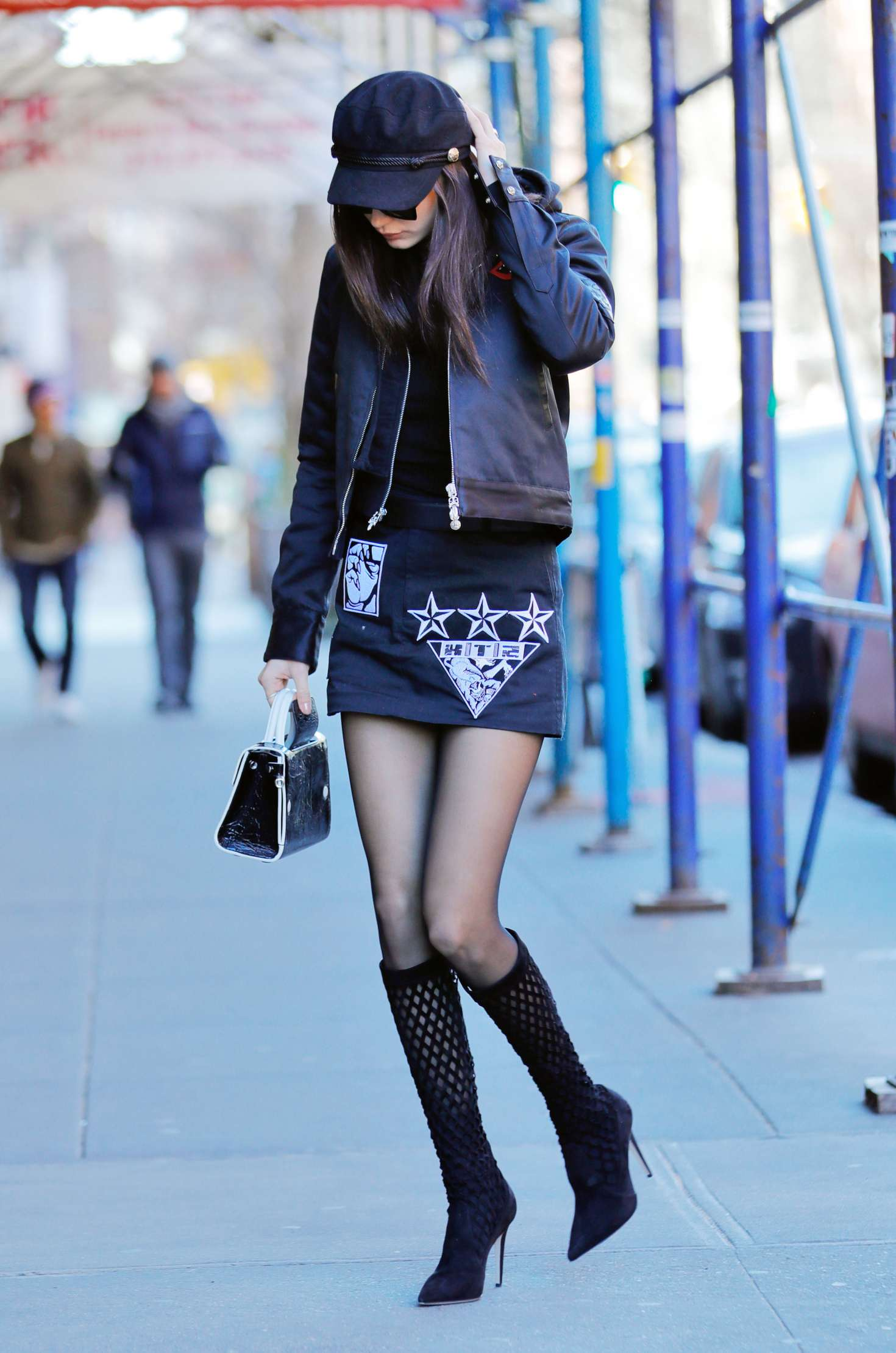 Bella Hadid in Mini Skirt out in Manhattan