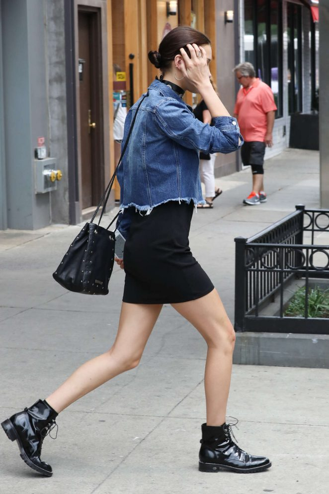 Bella Hadid in Mini Skirt Out in New York