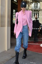 Bella Hadid in Pink Coat - Out in Paris