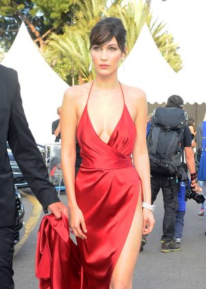Bella Hadid in Red Dress Leaving her Hotel in Cannes