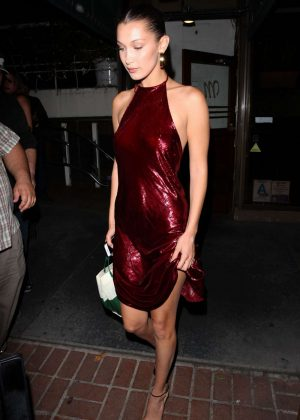 Bella Hadid in Red Dress Out for Dinner in West Hollywood