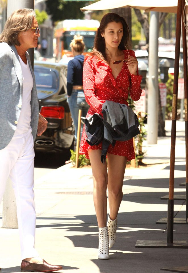 Bella Hadid in Red Mini Dress -10