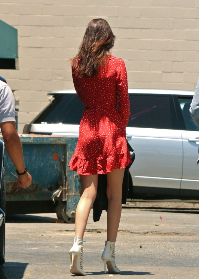 Bella Hadid in Red Mini Dress -27