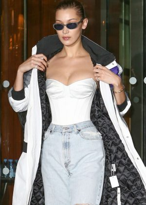 Bella Hadid in Ripped Jeans out in Paris