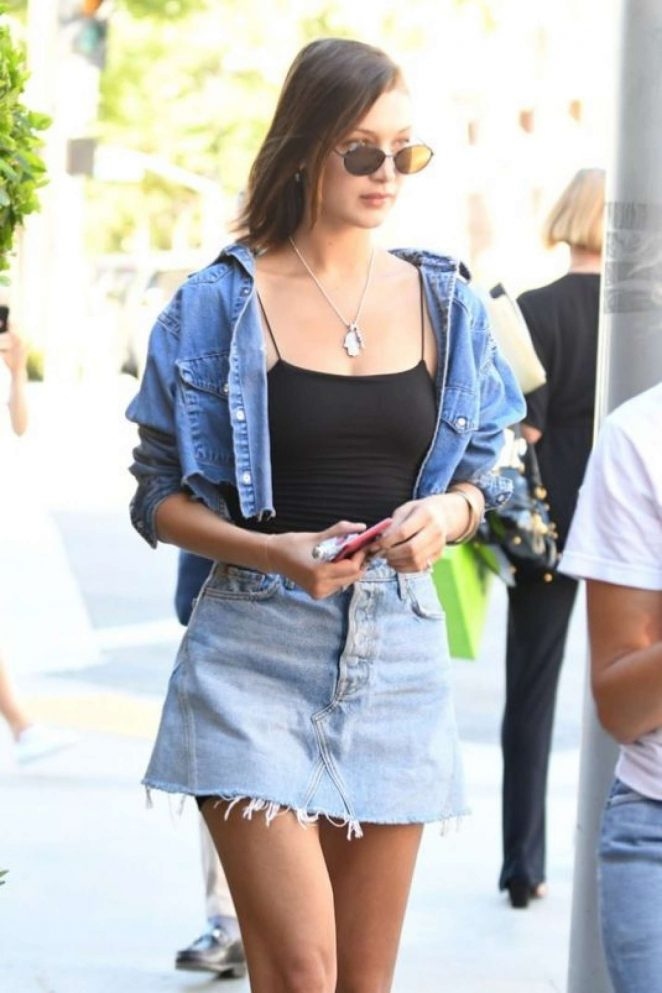 Bella Hadid in Short Jeans Skirt Out in Beverly Hills