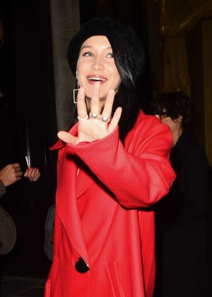 Bella Hadid in Short Red Coat -23 - GotCeleb