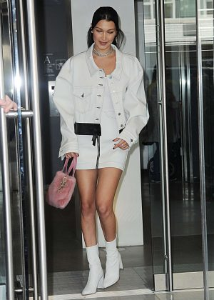 Bella Hadid in Short Skirt out in New York City
