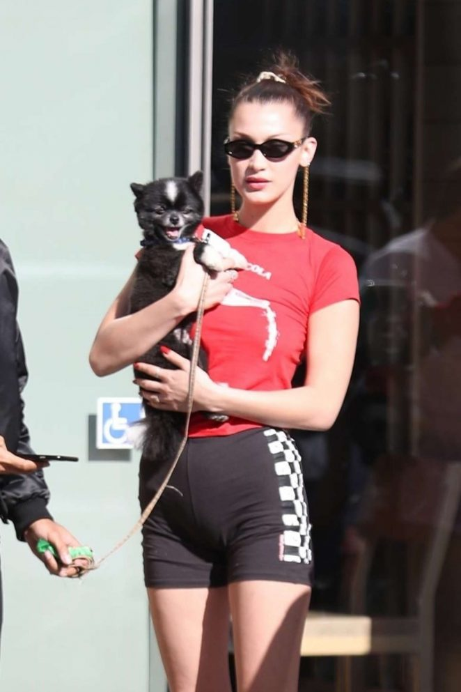 Bella Hadid in Shorts -17