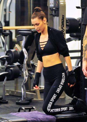Bella Hadid in Sports Bra Leaving a gym in New York