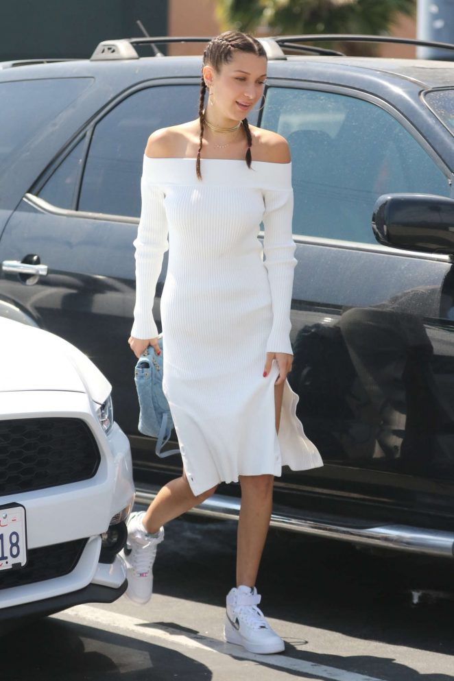 Bella Hadid in Tight White Dress Out in Los Angeles