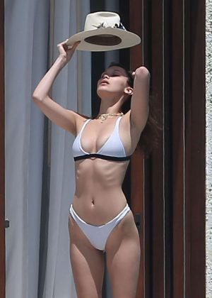 Bella Hadid in White Bikini at a pool in Cabo San Lucas